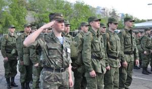 Митинг, посвященный отправке призывников.
