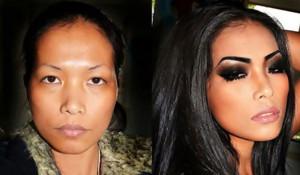 Женщины до и после макияжа.