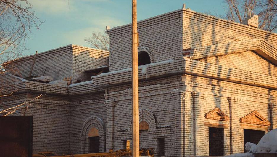 Строительство Иоанно-Предтеченского храма, февраль 2015 года.