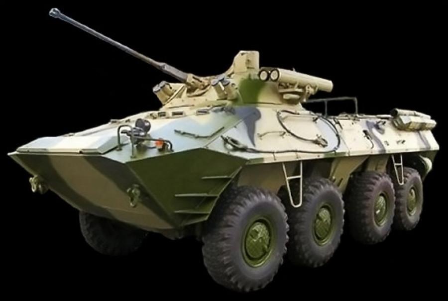 """""""Бережок"""" - модификация БТР-90 с 30-мм автоматической пушкой 2А42, 7,62-мм пулеметом ПКТМ, автоматическим гранатометом АГС-30 и противотанковыми комплексом """"Корнет""""."""
