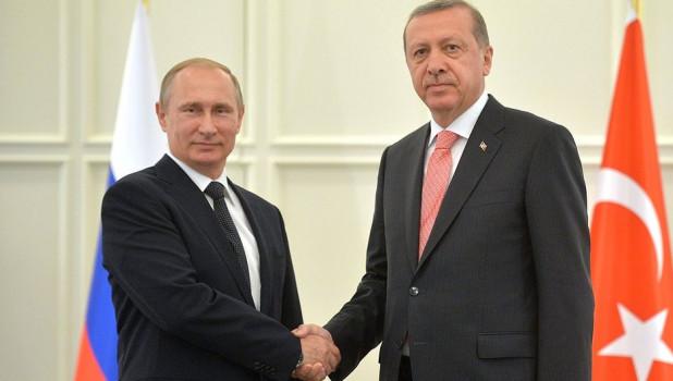 Президенты России и Турции Владимир Путин и Реджеп Тайип Эрдоган.