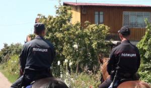 Конная полиция патрулирует дачные поселки на Алтае.