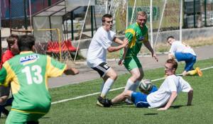 Футбольный матч между алтайскими и новосибирскими журналистами. Барнаул, 18 июля 2015 года.