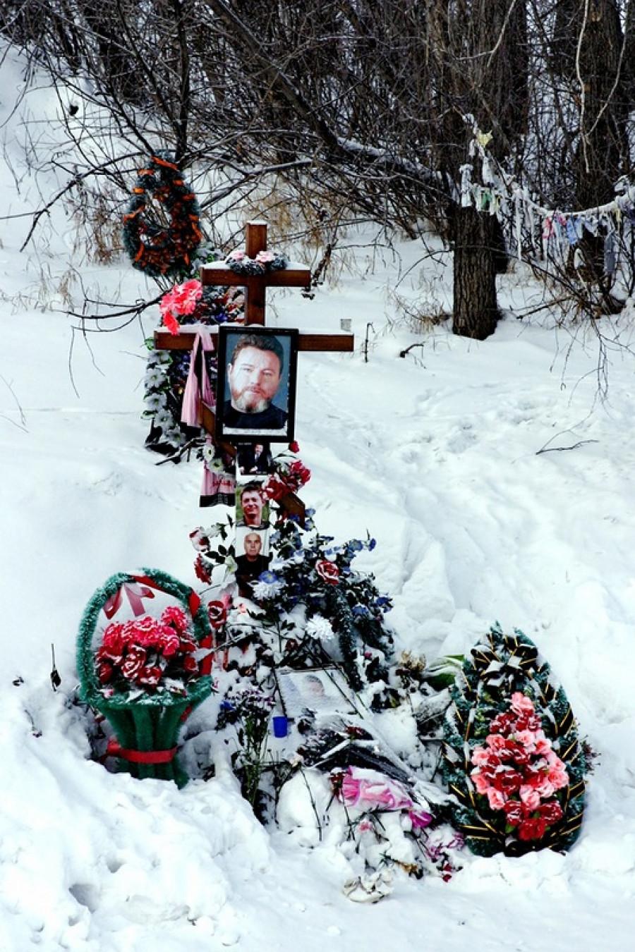 На месте гибели Михаила Евдокимова до установления часовни.