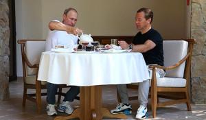 Встреча Путина и Медведева в Бочаровом ручье. Сочи, 30 августа 2015 года.