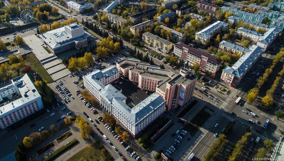 Осенний Барнаул с высоты птичьего полета.