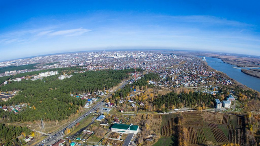 Барнаульский дендрарий с высоты птичьего полета.
