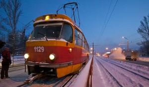 Зима в Барнауле. Трамвай.