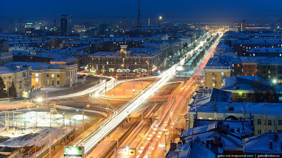 Зимний Барнаул. Площадь Октября.