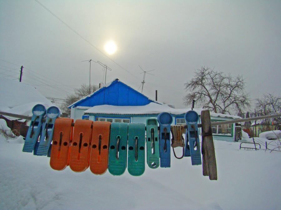 Зима на Алтае. Частный сектор.