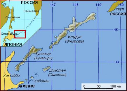 Карта южных Курильских островов.