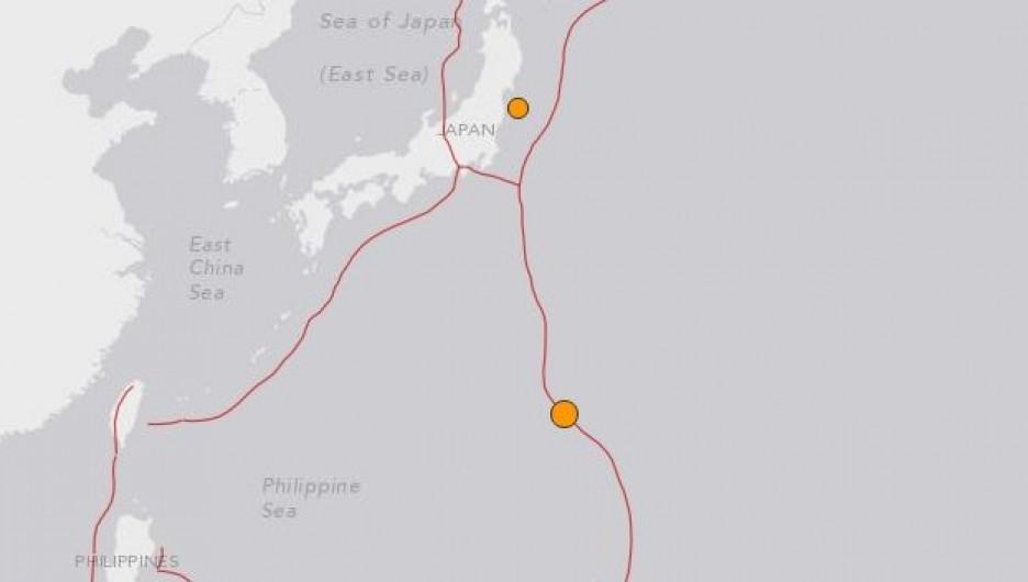 Очаги землетрясений в Японии.