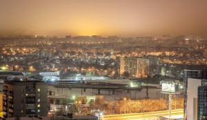 Вид на ночной Барнаул с крыш высоток.
