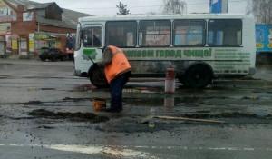 Ремонт дорог в Бийске, автобус.