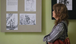 """В Барнауле открылась выставка работ Никиты Цветкова и прошла презентация книги """"Я хочу послужить Отчизне. Рисунки. Сочинения. Воспоминания"""". 7 апреля 2016 года."""