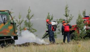 Тушение лесного пожара.
