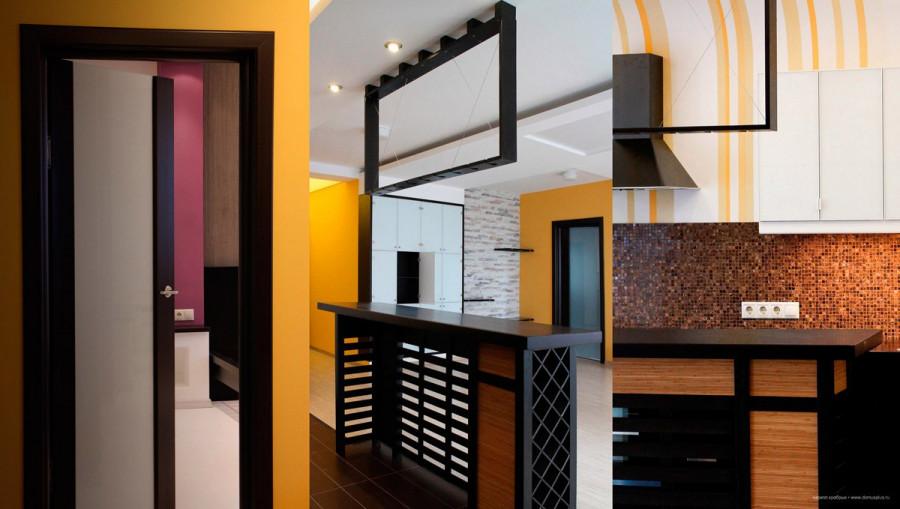 Вся корпусная мебель – шкафы в прихожей, плательный шкаф в спальне, барная стойка - сделана в Барнауле по авторским чертежам.