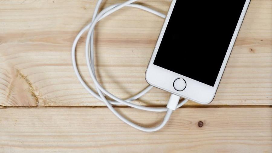Телефон и зарядное устройство.