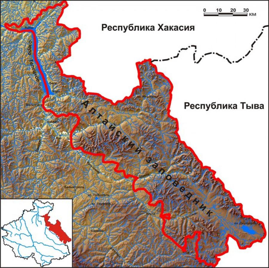 Карта Алтайского заповедника.