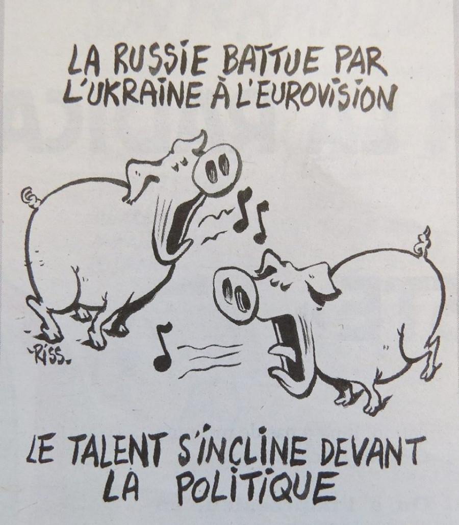 """Карикатура Charlie Hebdo по поводу результатов """"Евровидения-2016""""."""