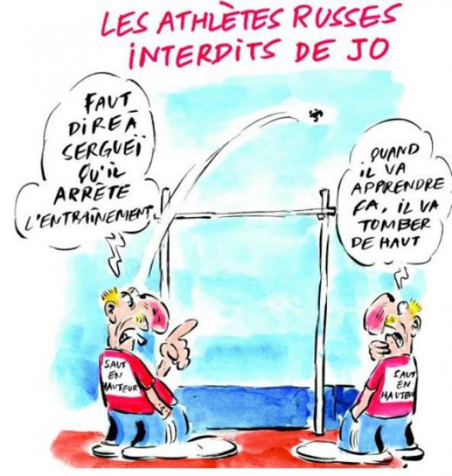 Карикатура Charlie Hebdo на российских спортсменов.