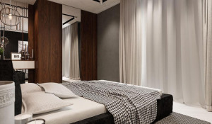 Для кровати выбрано особенное место - напротив большого балкона. Благодаря ему в спальне организуется естественное кондиционирование, если приоткрыть балконную дверь.