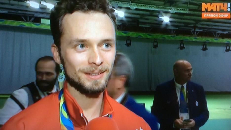 Сергей Каменский сразу после завоевания медали в Рио.