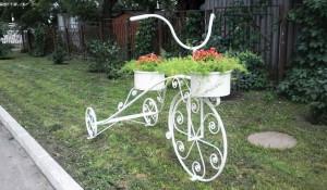 Клумбы-велосипеды в Барнауле.