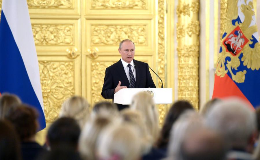 Российские олимпийцы в Кремле. 25 августа 2016 года.