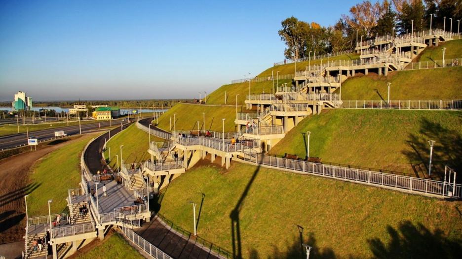 Новая лестница в Нагорном парке.