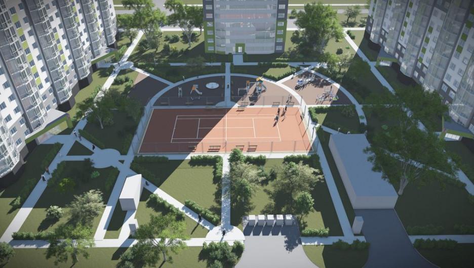 Спортивно-игровая площадка в жилом комплексе.