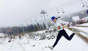 В Шерегеше идёт снег. Октябрь 2016 года.