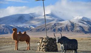 Скульптуры и памятники в алтайских горах.