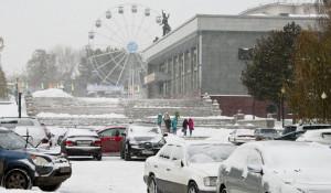 Снег в Барнауле, 25 октября 2016.