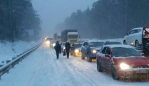 Пробки на шоссе Ленточный бор.