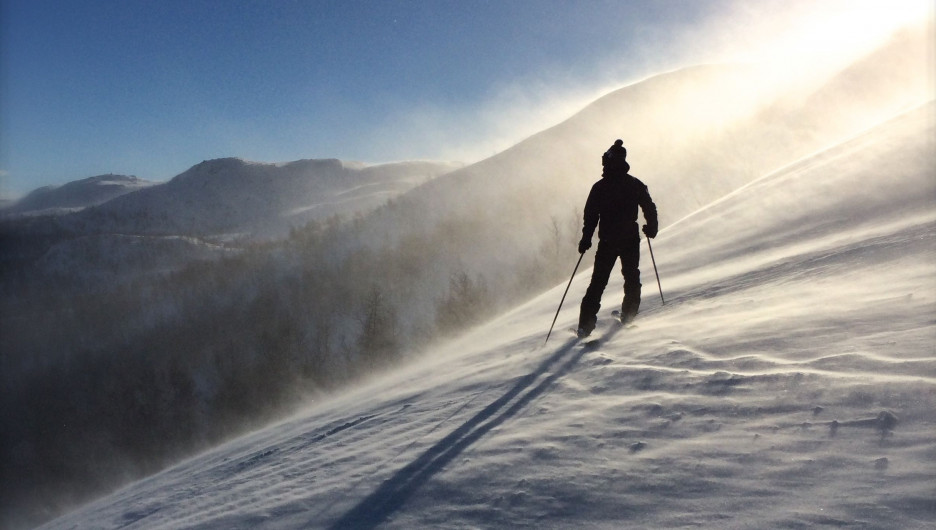Горные лыжи. Зима.