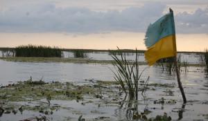 Оборванный флаг Украины.