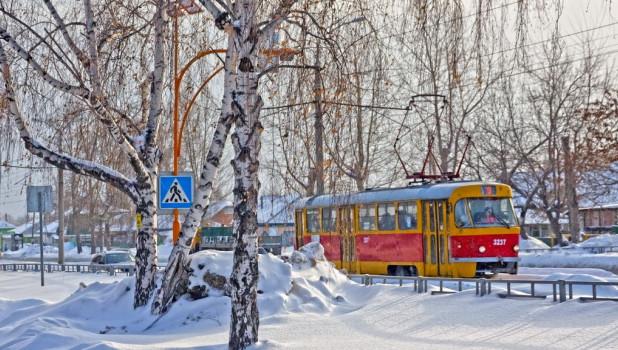 Зима в Барнауле. Общественный транспорт.