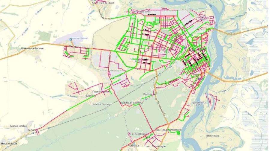 Состояние дорог в Барнауле. Красным выделены участки в неудовлетворительном состоянии