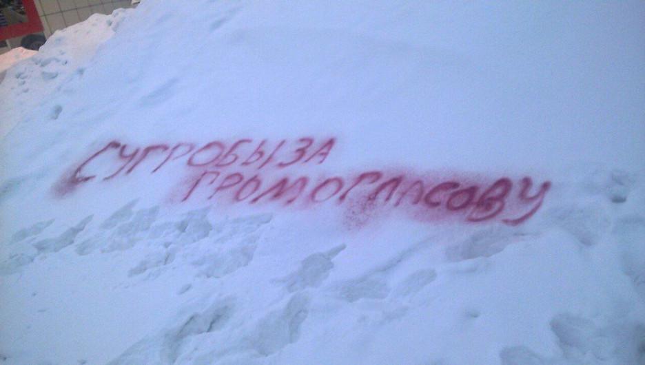 """В Бийске активисты расписали """"сугроб Громогласовой""""."""