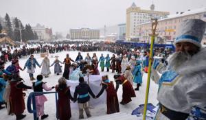 Празднование Чага-Байрама в Горно-Алтайске. 4 февраля 2017 года.