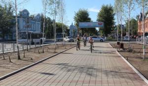Благоустроенная аллея на проспекте Ленина