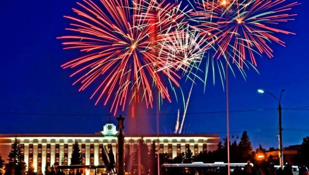 Салют на День России. Барнаул, 12 июня 2017 года.