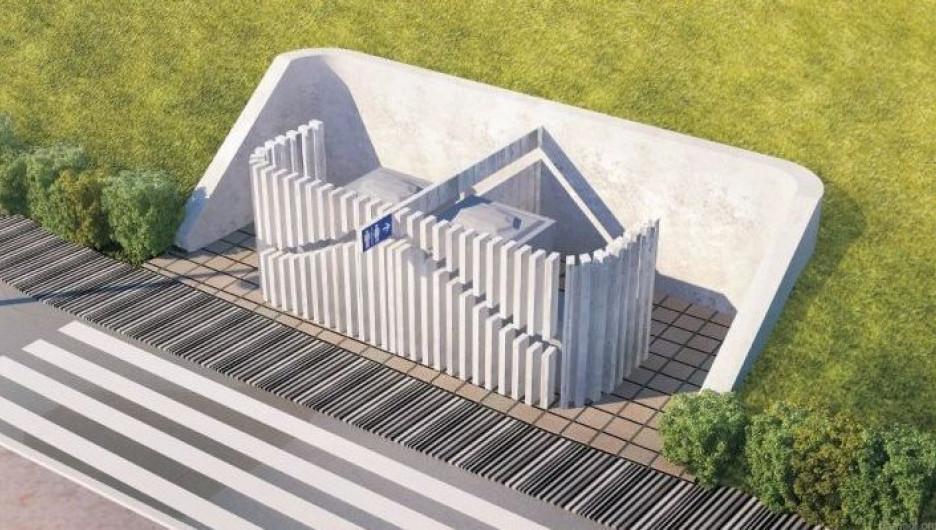 Проект общественного туалета на набережной Оби в Барнауле.