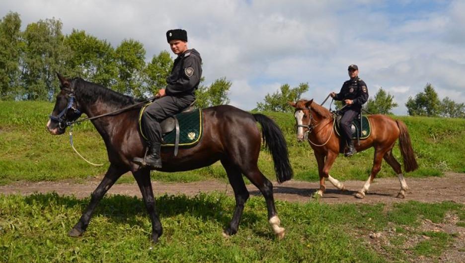 Конные полицейские и казаки патрулируют барнаульские садоводческие товарищества.