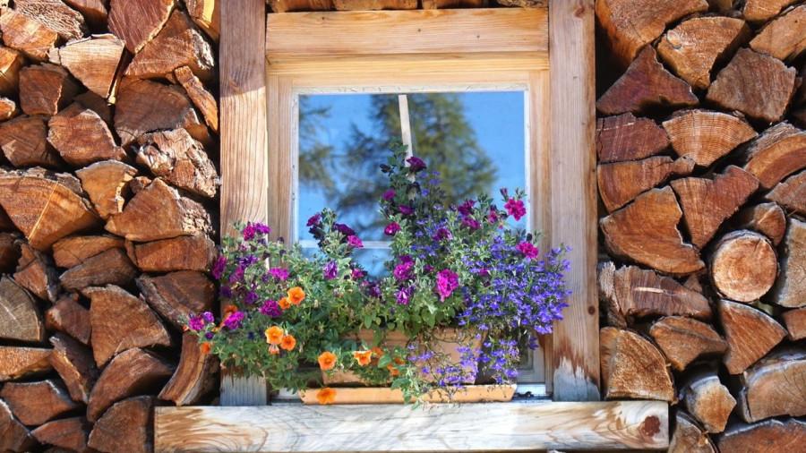 Дрова. Дом в деревне. Окно.