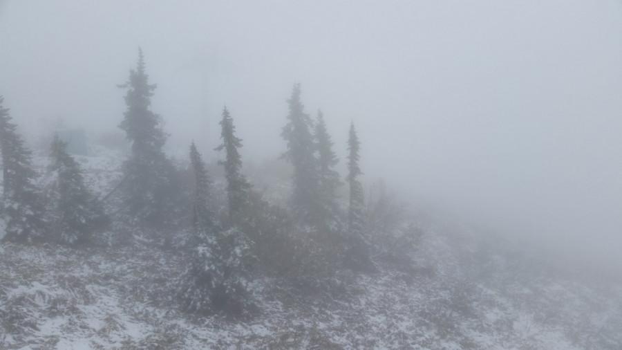Первый снег в Шерегеше.