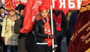 Демонстрация и митинг барнаульских коммунистов 7 ноября 2016 года.