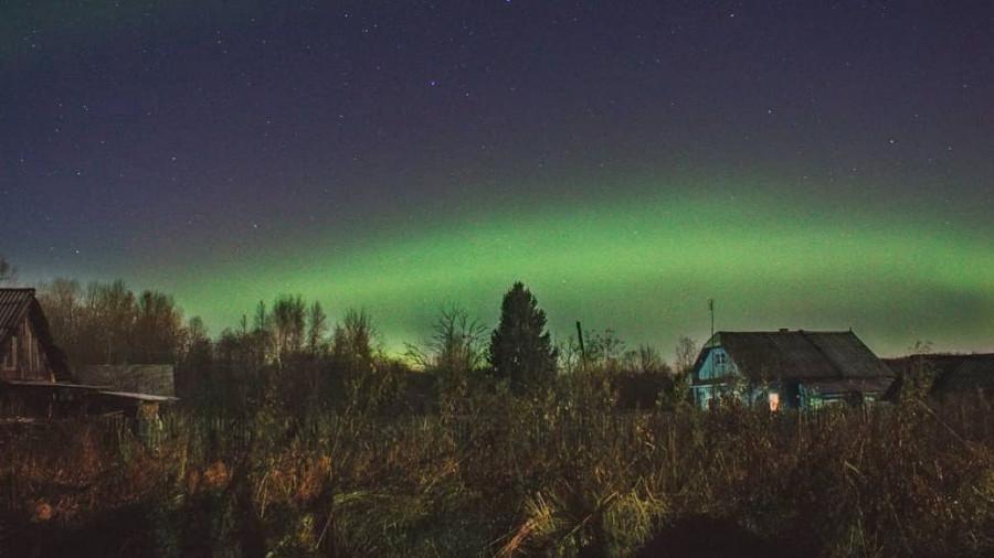 Костромская область, полярное сияние.