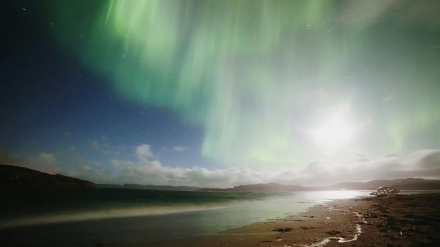 Мурманск, полярное сияние.